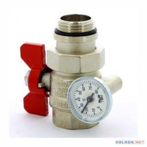 Кран шаровый со сгоном и термометром Tiemme красная бабочка