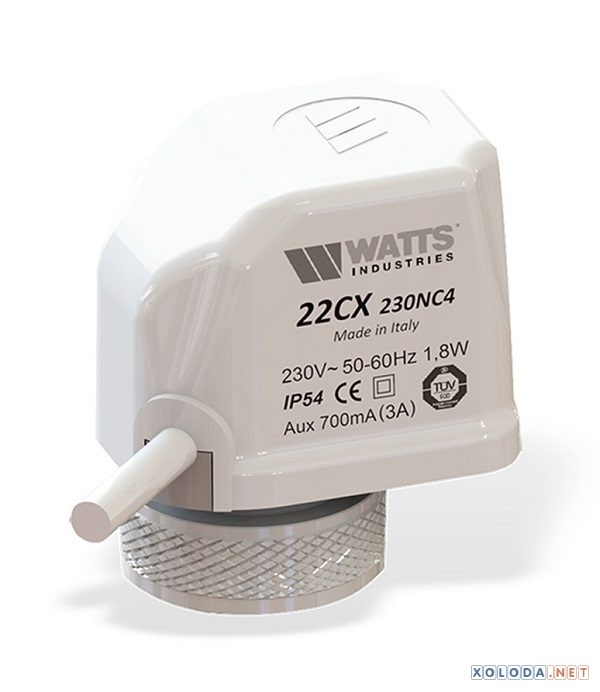 Watts 22CX24NA2, сервопривод нормальный открытый